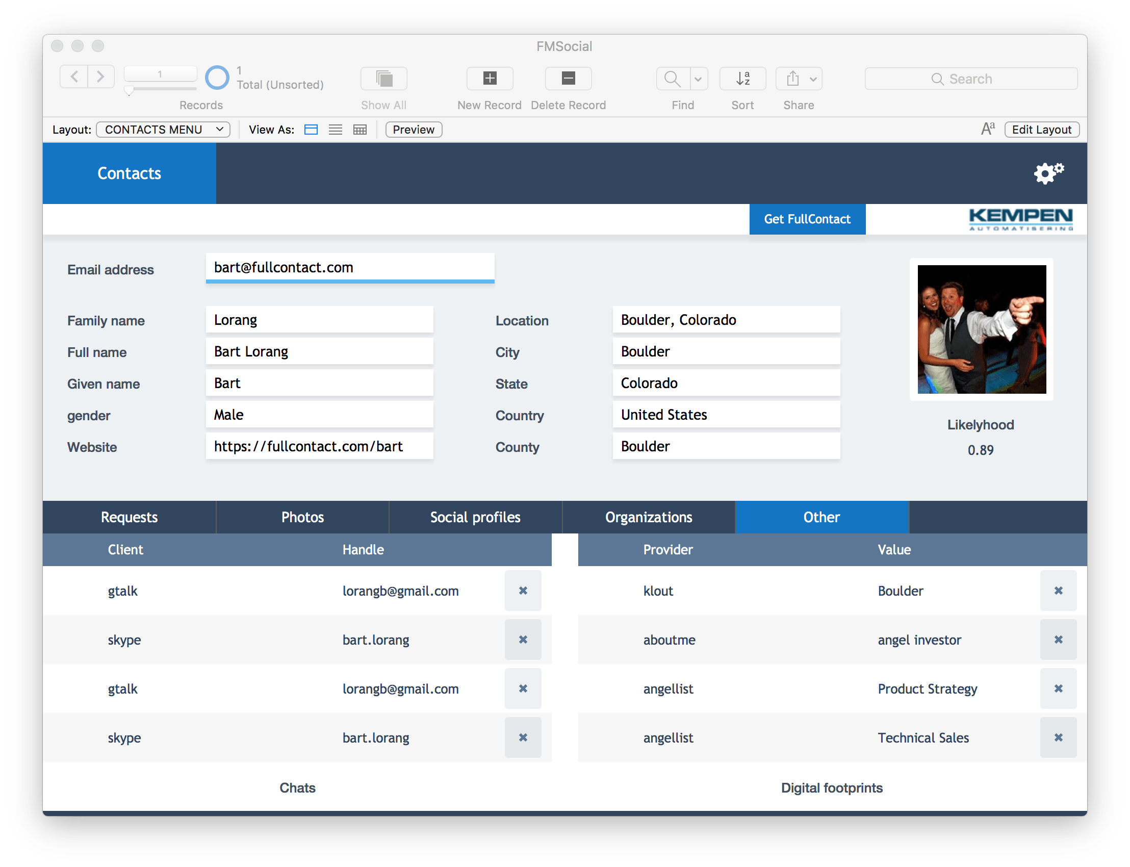 FileMaker Customer Casting database screen